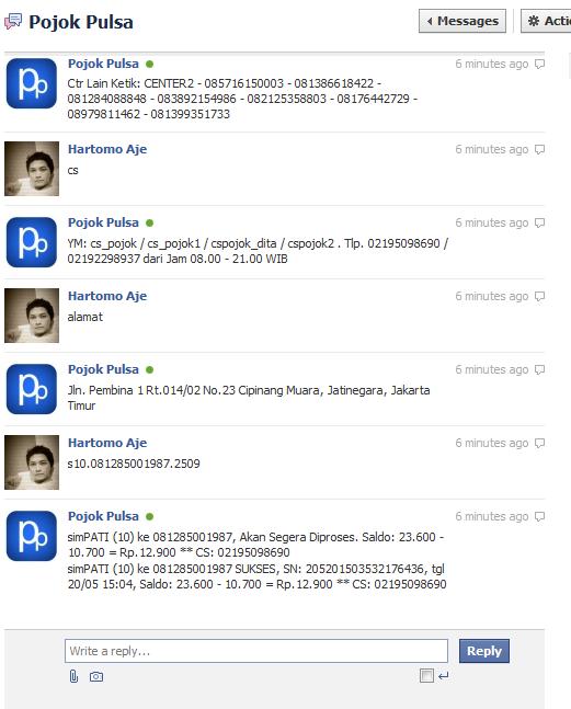 Pulsa lewat gtalk (gmail) transaksi pulsa elektrik lewat facebook