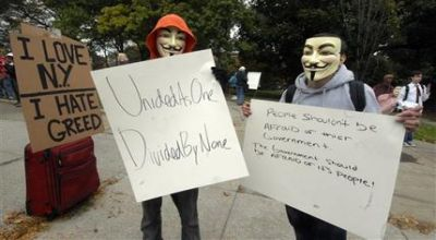 Foto : demonstran AS gunakan topeng Guy Fawkes (AP)